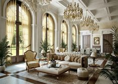 Elegant and grand living room with gorgeous arched windows and trey ceiling!