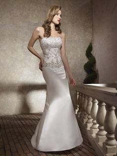 Satin Scooped Neckline Hand-Beaded Bodice A-line Wedding Dress