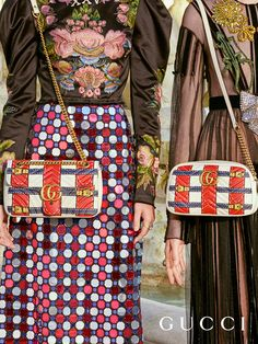 New GG Marmont shoulder bags in a trompe l'oeil design from Gucci Spring Summer 2017. Vintage Gucci, Gucci Handbags, Vera Bradley Backpack, Gucci Purses, Gucci Bags