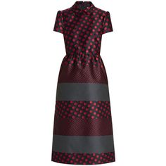 REDValentino Polka-dot jacquard dress (€885) ❤ liked on Polyvore featuring dresses, red multi, navy polka dot dress, print dress, polka dot dress, stripe dresses and navy dress