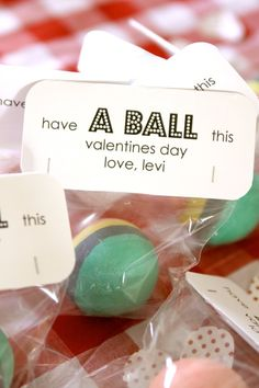 Non Candy Valentine gift for school -I actually thought it was a ball of homemade play dough, which I thought was brilliant, but not sure what the teachers would think. happy-vd
