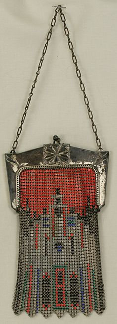 ART DECO WHITING AND DAVIS HALLOWEEN COLORS GEOMETRIC DESIGN FLAPPER PURSE. From eBay seller auntbees13.