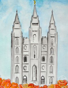 Salt Lake City lds Temple slc colorful by TheSunnyArtRoom on Etsy, $18.00