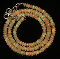 """54 Ctw1Necklace 4to5.5mm 17""""Beads Natural Genuine Ethiopian Welo Fire Opal 9094"""