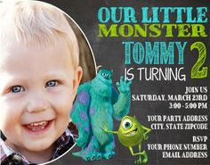 Monsters Inc Mike and Sully Photo Invitation Chalkboard