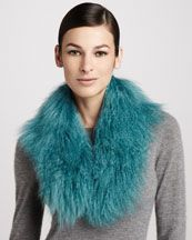 D0DS0 Trilogy Mongolian Shearling Scarf, Turquoise