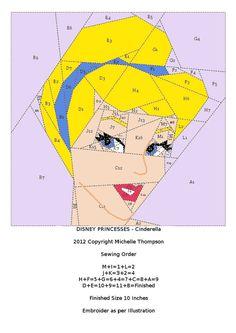 More serious paper-piecing!   Disney Princess Quilt - Cinderella pattern