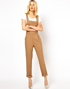 Tailored, caramel-colored overalls- cute for autumn