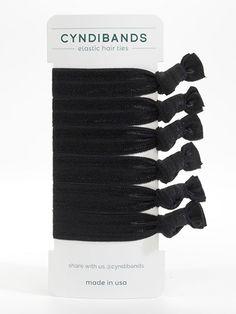 Cyndi Bands set of 6 elastic hair ties in All Black $10