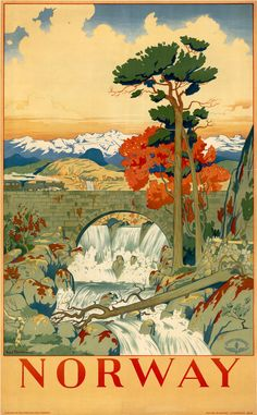Norway in autumn vintage travel poster