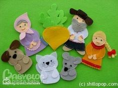 Finger puppets for The Big Turnip story! How sweet! The site is in Russian (I think) but the finger puppets are adorable and high quality! Felt Puppets, Felt Finger Puppets, Felt Crafts Patterns, Felt Bookmark, Felt Stories, Traditional Toys, Felt Quiet Books, Animal Masks, Felt Diy
