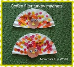 Coffee filter turkey magnet, fun for all ages