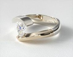 Would like marquise cut instead of pear cut diamond - Two Tone White and Yellow Gold Pear Shaped Swirl Tension Setting Engagement Rings For Men, Designer Engagement Rings, Diamond Engagement Rings, Stacked Wedding Rings, Contemporary Engagement Rings, Wedding Ring Designs, Pear Shaped Diamond, Pear Diamond, Beautiful Rings