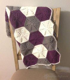 Crochet Honeycomb Blanket - Crochet Baby Blanket, Purple Baby Blanket Baby Girl…