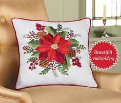 This beautifully embroidered pillow is accented with ribbons, sequins & beads. A red poinsettia takes center stage surrounded by greenery, pinecones and berries. The cream colored pillow has a pretty red border. Christmas Pillow, Christmas Home, Christmas Holidays, Holly Christmas, Christmas Bathroom Sets, Hand Painted Mugs, Indoor Christmas Decorations, Collections Etc, Christmas Embroidery