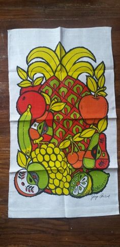 Vtg George Briard Linen Unused vibrant  Fruit Tea Towel