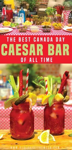 How to Make an Epic Caesar Bar, Perfect for Canada Day. We've got a checklist of… – Cocktails Caesar Cocktail, Cocktail And Mocktail, Vodka Cocktails, Summer Cocktails, Cocktail Recipes, Alcoholic Drinks, Vodka Bar, Ceasar Drink, Caesar Recipe