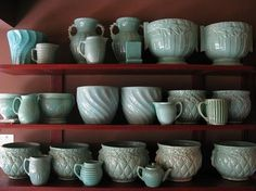 American art pottery from the 40's: McCoy, Red Wing, Haegar.