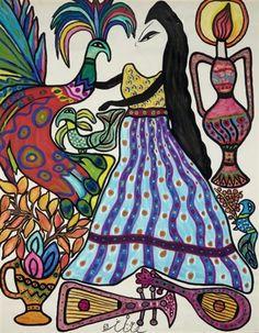 Femme et paon by Mahieddine Baya