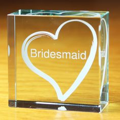 Personalised Bridesmaid Gift -  White Heart Medium Crystal Token - Olive and Finch