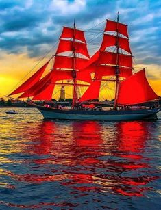 """""""Red Sails in the Sunset, Way out on the sea, O carry my loved one Home safely t. - ιστιοφόρα - Design de Carros e Motocicletas Old Sailing Ships, Tug Boats, Sail Away, Set Sail, Tall Ships, Water Crafts, Lighthouse, Scenery, Adventure"""