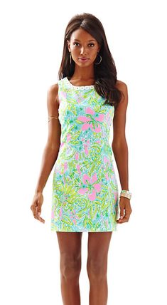 The Lilly Pulitzer Mila Lace Detail Shift Dress in Multi Coconut Jungle is a…