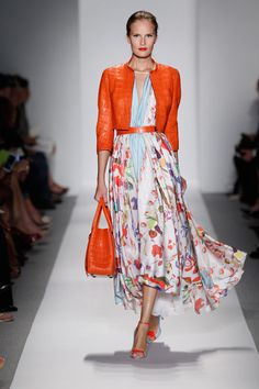 Dennis Basso Tangerine Alligator Jacket and Tote with Tangerine and Sky Blue Abstract Print Dress Spring Vogue Fashion, Runway Fashion, Womens Fashion, Fashion Trends, 2014 Trends, Spring Dresses, Lady, Editorial Fashion, Casual Dresses