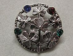 Vintage Shamrock Rhinestone Pin from Ireland by COBAYLEY on Etsy, $24.00
