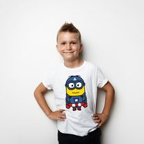 CAPTAIN MINION BOYS T SHIRT  Boys 100% Ring Spun Combed Cotton Short Sleeve T-Shirt.  Compromise is not a dirty word in the U.S.A. Printed with eco-friendly, water-based inks for an extra soft finish.  Made from 100% combed cotton. This Youth t-shirt is pajama soft and cut for a flattering ...