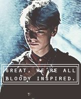 """""""Great now were all bloody inspired,"""" the boy with whiskey eyes groaned out, as the taller man finished his speech."""