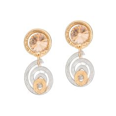 Gold and Silver Swarovski crystal earrings made with white and yellow gold metal swirl design. Hypoallergenic, excellent quality, great for everyday use