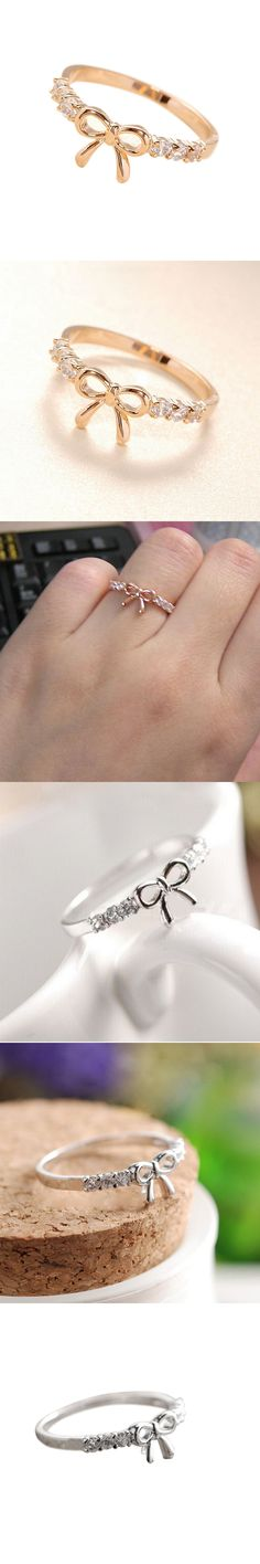 Korean Style Hot Sale Headwear jewelry Women Girls Simple Crysta bow shape rings Silver Thin Simple Love Charm Crystal Ring