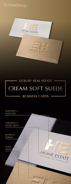 Home Estate Template - Luxury real estate companies should have a luxury business card that complements their product. Printed on our thick cream soft suede cardstock, our Home Estate does just this. Embossed Business Cards, Luxury Business Cards, Real Estate Business Cards, Corporate Business, Business Card Design, Business Card Templates, Realtor Business Cards, Corporate Identity, Identity Design