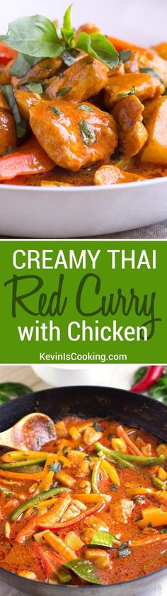 A go-to mid week meal when we're craving Thai, this Creamy Thai Red Curry with Chicken is a quick and easy stir-fry made with chicken and bell peppers.
