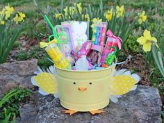 Turn a basic bucket into an adorable alternative to a traditional Easter basket-->  http://www.hgtv.com/design/make-and-celebrate/holidays/how-to-make-a--cute---feathered-chick-easter-bucket?soc=pinterest