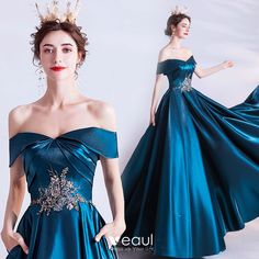 SSYFashion New Vintage Peacock Blue Evening Dress Banquet Elegant Boat Neck Satin A line Appliques Beading Long Formal Gown on AliExpress Ceremony Dresses, Ball Dresses, Prom Dresses, Long Formal Gowns, Formal Dresses, Elegant Dresses, Pretty Dresses, Blue Evening Dresses, Fantasy Dress