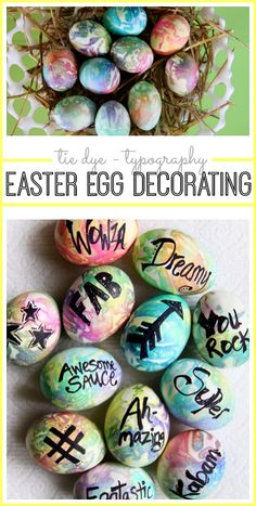 Tie dye typography Easter egg decorating tutorial how to