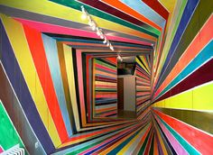 German painter Markus Linnenbrick is known for making mind-bending stripe installations in hallways and rooms