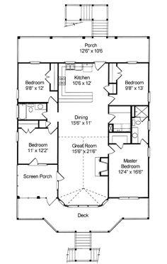 Beach Style House Plan - 4 Beds 2 Baths 1645 Sq/Ft Plan #37-144 Floor Plan - Main Floor Plan - Houseplans.com