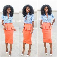 Stripes x Midi Pencil Skirt.