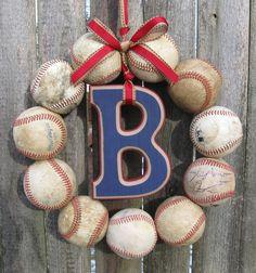 Welcome Baby Baseball Love Wreath. $50.00, via Etsy.
