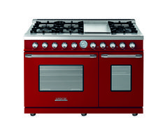 Range DECO 48'' Classic Red matte, Chrome trim, 6 gas, griddle and 2 gas ovens with the main cavity equipped with 2 convection fans and broiler. Also available in Dual Fuel option with self-cleaning capabilities.
