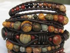 Brown Leather, Colorful Picasso Jasper, Onyx Agate, Faceted Carnelian, 3 Shapes Copper Beads And A Copper Filigree Button. Photo:  This Photo was uploade...