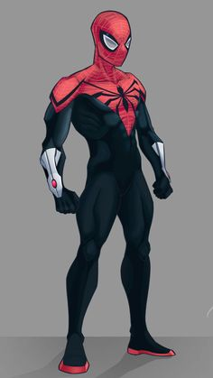 The legs can be better, it's still cool Superior Spider-man Superhero Suits, Spiderman Suits, Black Spiderman, Superhero Poster, Superhero Design, Amazing Spiderman, Spiderman Anime, Spiderman Marvel, Marvel Art