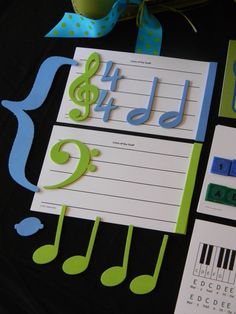 New Songs foam musical shapes are a great way to teach beginning music symbols. Two blank lines of the staff cards come with all the shapes you see here. Create the Grand Staff or place the cards side by side to make measures.  Make Piano Teaching Fun!