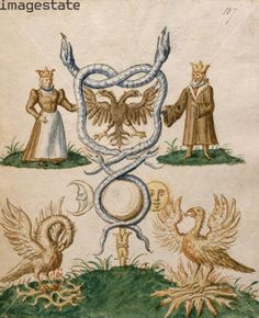 Alchemy:  A king and queen with symbolic attributes. Two monarchs, possibly the recipients of the manuscript, with various symbols of longevity. The phoenix is shown on the left moulting and pecking its breast and on the right rising from the flames triumphantly. The Sun and Moon, ever present, represent eternity, as do the intertwined snakes. This image represents the opening of the manuscript. From a collection of treatises and poems on Alchemy and the philosopher's stone. An Alchemy…