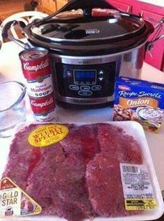 Crock Pot Cube Steak and Gravy. Cube steak (family size pack) 2 cans ounce size) cream of mushroom soup 1 envelope onion soup mix C water S&P to taste Place all ingredients in a crock pot. Cook on low all day. Serve over rice, noodles, or mashed potatoes. Crock Pot Food, Crockpot Dishes, Crock Pot Slow Cooker, Beef Dishes, Slow Cooker Recipes, Food Dishes, Beef Recipes, Cooking Recipes, Side Dishes