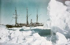 """35 South, 1915.  Frank Hurley's famous early colour photographs of Sir Ernest Shackleton's ill-fated 'Endurance' voyage, as part of the British Imperial Trans-Antarctic Expedition, 1914-1917. Hurley was the official photographer on the expedition.  """"Early in 1915, their ship 'Endurance' became inexorably trapped in the Antarctic ice. Hurley managed to salvage the photographic plates by diving into mushy ice-water inside the sinking ship in October 1915."""