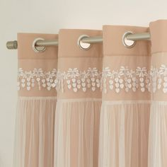 Shop for Aurora Home Lace Overlay Room Darkening Grommet Top Curtain Panel Pair. Get free delivery On EVERYTHING* Overstock - Your Online Home Decor Outlet Store! Home Curtains, Velvet Curtains, Sheer Curtains, Window Curtains, Curtains Living, Drapery, Nursery Curtains Girl, Girl Nursery, Thermal Drapes