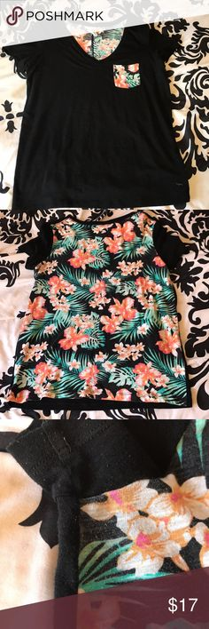 Hawaiian themed PINK Tee Black front with floral pocket detail, back is completely covered in that same pattern. As pictured, some slight wear in armpit area, but nothing major. Colors are slightly more muted than when first bought. Very cute shirt, they don't make them like this anymore! PINK Victoria's Secret Tops Tees - Short Sleeve